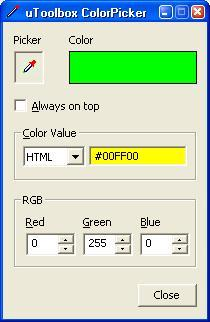 Color Picker Software Tool Screenshot